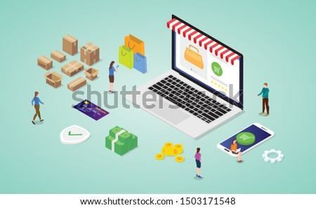 online shopping concept with laptop website store with payment money and shipping method with modern isometric style - vector