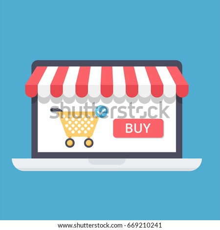 Online shopping concept with open laptop and online shop