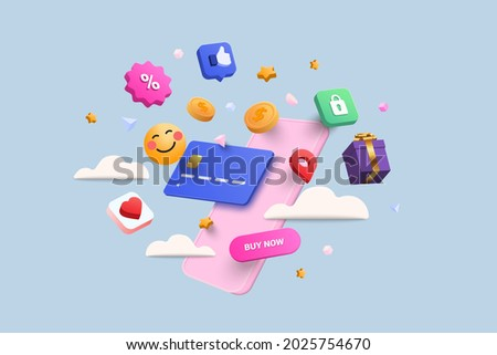 Online shopping 3D Illustration, online shop, online payment and delivery concept with floating elements. sale banner, gift box, discount, social advertising. 3D Vector Illustration.