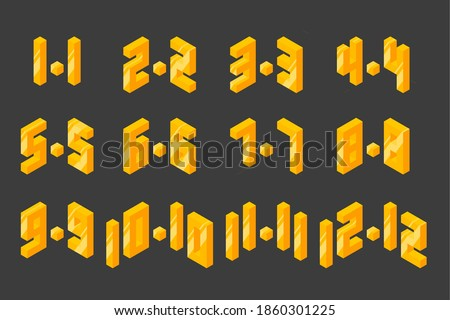 online shopping day big sale text 1.1, 2.2, 3.3, 4.4, 5.5, 6.6, 7.7, 8.8, 9.9, 10.10, 11.11, 12.12. isometric element for shop ストックフォト ©