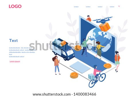 Online shopping, delivery isometric,  Business concept for M-Commerce, E-commerce, drone, small people, web service, for web page, banner, presentation, social media, documents, cards, posters. Vector