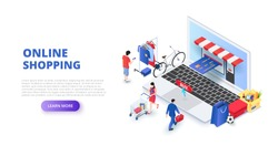 Online shopping design concept with people and laptop. Isometric vector illustration. Landing page template for web.