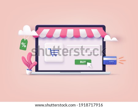 Online shopping.Design graphic elements, signs, symbols. Mobile marketing and digital marketing. 3D Web Vector Illustrations.
