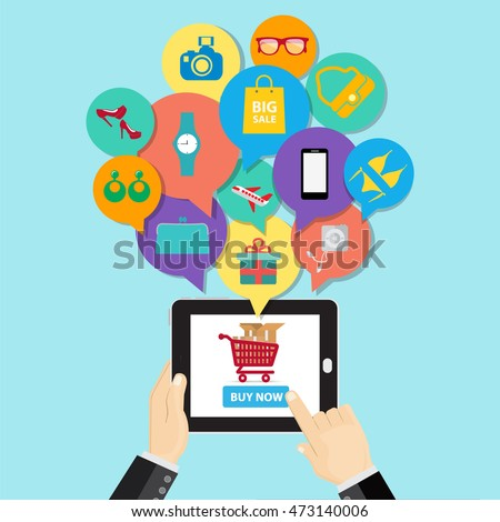 Online shopping e-commerce concept. business button order item  store online on smartphone and tablet. Can used for infographic,web advertising.Vector illustration business cartoon concept.