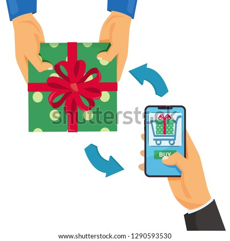 Online shopping e-commerce concept mobile shopping man holding smart phone and buys a gift