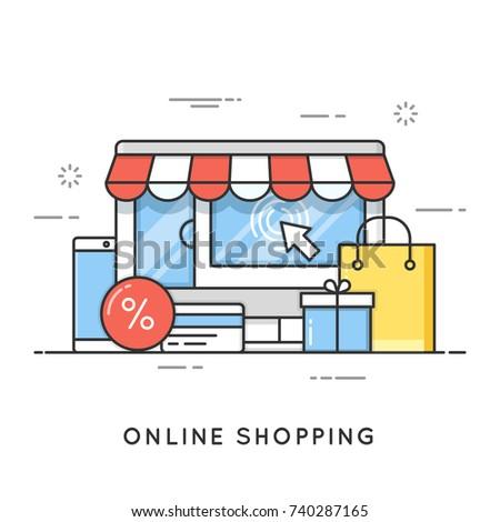 Online shopping, e-commerce. Flat line art style concept. Vector banner, icon, illustration. Editable stroke.