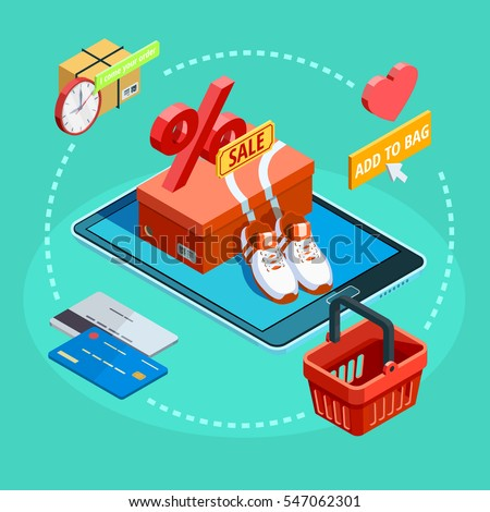 Online shopping ecommerce concept isometric  background poster with sale articles credit card  and tablet symbolic circle vector illustration
