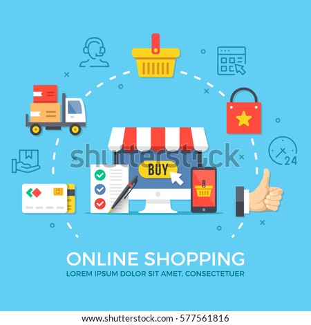 Online shopping. Flat design graphic elements, signs, symbols, line icons set. Premium quality. Modern concept for web banners, websites, infographics, printed materials. Creative vector illustration.