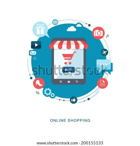 Online shopping flat illiustration. eps10