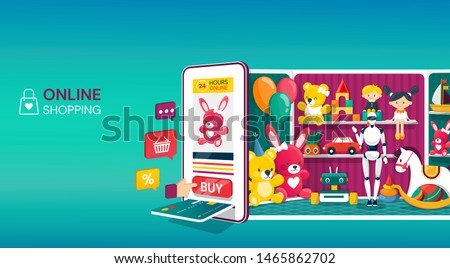 Online shopping for kids toys with a colorful Vector Design, showing a tablet or mobile phone with credit card in a payment slot backed by the interior of a toy shop with toys on shelves and assistant