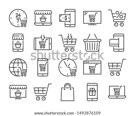 Online shopping icon. E-commerce line icons set. Vector illustration.