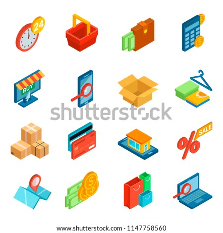 Online shopping icon vector e-commerce technology with digital payment in internet shop and pos terminal for credit card in store illustration set of ecommerce isometric isolated on white background