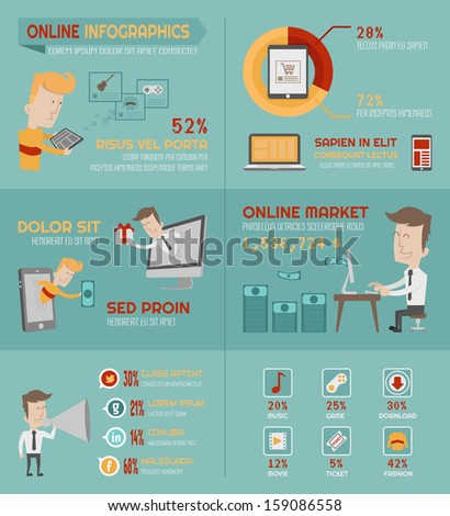 Online shopping infographics elements eps10 vector format