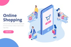 Online shopping isometric concept.  Isometric  Women and men characters with shopping bags and shopping carts isolated on white. Flat vector illustration.