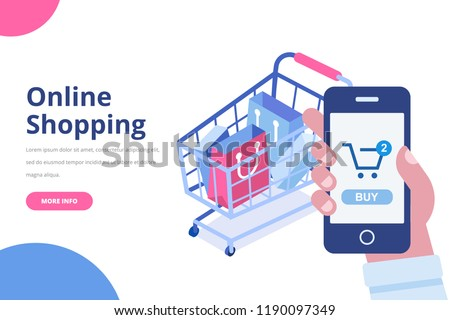 4c3ec1cad85 Online shopping isometric concept. Shopping cart with bags. Man s hand with mobile  phone.