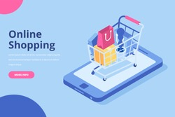 Online shopping isometric concept. Shopping cart with bags standing upon big mobile phone. Flat  vector design isolated on blue  background.