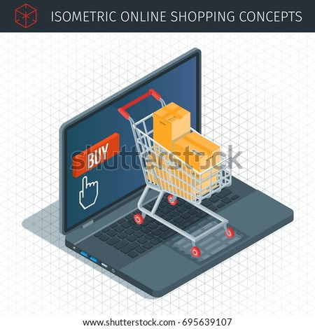 Online shopping isometric icons set. 3d shopping cart on a laptop keyboard. Concept about online shopping. Highly detailed vector illustration