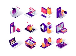 Online shopping isometric icons set. Internet marketplace mobile application. Payment by smartphone, smartwatch and computer. Digital marketing and advertising. Ecommerce platform 3d vector isometry.