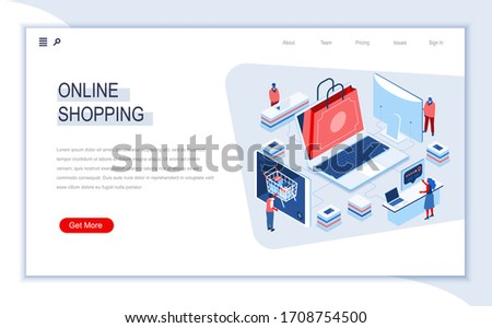 Online shopping isometric landing page. E-commerce business, web solution for online shopping platform, customer consultation. Digital technology and devices. People in work situation vector isometry.