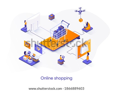 Online shopping isometric web banner. E-commerce platform isometry concept. Web solution for online shopping 3d scene, order and delivery application design. Vector illustration with people characters
