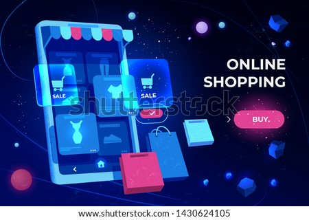 Online shopping landing page, smartphone screen with application icons for making purchases and customer order in internet, digital technologies for shops and stores, neon cartoon vector illustration