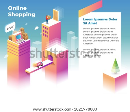 Online Shopping Landing Page template for website. Isometric illustration
