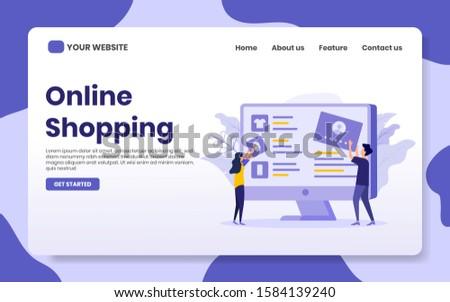 online shopping landing page vector illustration. people build website e-commerce. e-commerce concept, for website, banner, home page, flat illustration.