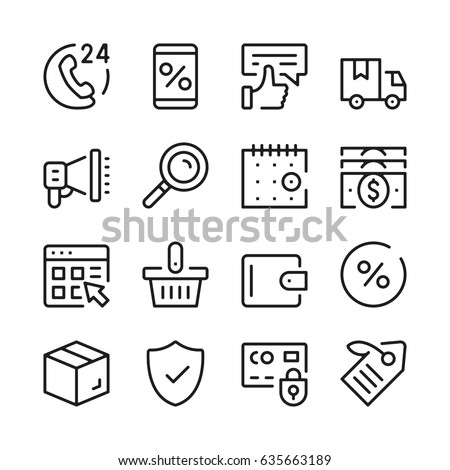 Online shopping line icons set. Modern graphic design concepts, simple outline elements collection. Vector line icons