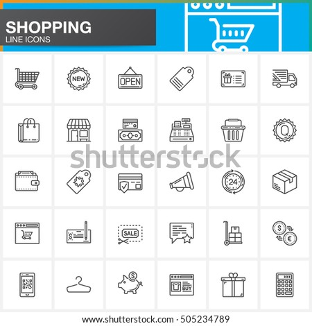 Online shopping line icons set, outline vector symbol collection, linear pictogram pack isolated on white, logo illustration