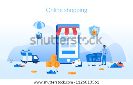 Online shopping, mobile marketing Concept for web page, banner, presentation, social media, documents, cards, posters. Vector illustration, M-Commerce, web and mobile phone services and apps, delivery