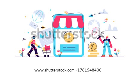 Online shopping, mobile marketing Concept for web page, banner, presentation, social media, documents, cards, posters. Vector illustration, M-Commerce, web and mobile phone services and apps