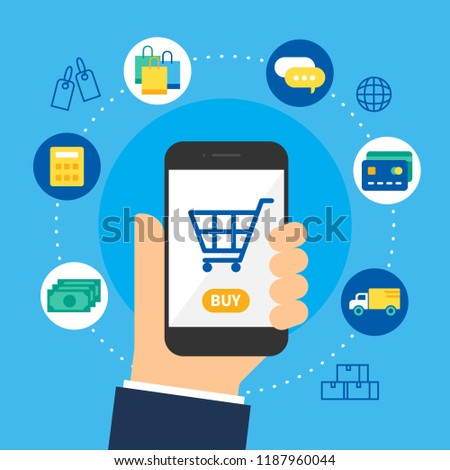 online shopping on mobile, internet of things concept vector,business ecommerce on hand