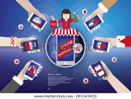 Online shopping on mobile network and social media.
