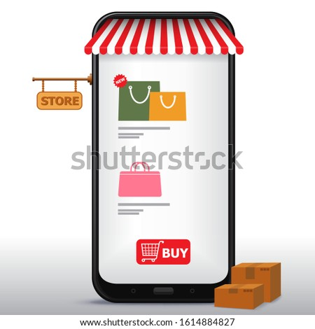 Online Shopping on Mobile Phone and Application Vector Illustration. E-Commerce and Digital Marketing Concept.