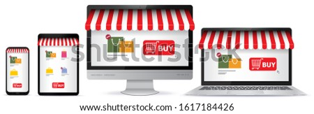 Online Shopping on Mobile Phone, Tablet Pc, Computer Monitor and Laptop Screen. E-Commerce and Digital Marketing Concept Vector Illustration.