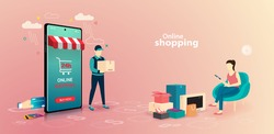 Online shopping on website E-commerce or mobile phone applications vector concepts and digital marketing. The woman is shopping on mobile phone and the man delivering.