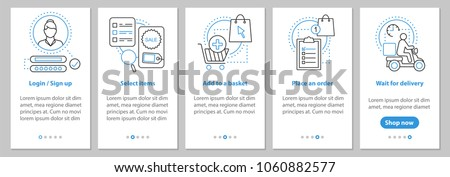 Online shopping onboarding mobile app page screen with linear concepts. Digital path to purchase steps graphic instructions. UX, UI, GUI vector template with illustrations
