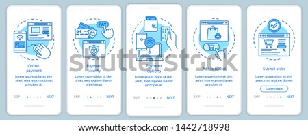 Online shopping onboarding mobile app page screen with linear concepts. Digital purchase. Internet marketing. E-commerce. Steps graphic instructions. UX, UI, GUI vector template with illustrations