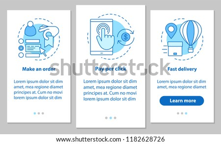 Online shopping onboarding mobile app page screen with linear concepts. Digital purchase. Place an order, payment per click, fast delivery. Steps graphic instructions. UX, UI, GUI vector illustrations
