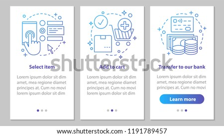 Online shopping onboarding mobile app page screen with linear concepts. Digital purchase steps graphic instructions. Select items, add to cart, make payment. UX, UI, GUI vector illustrations