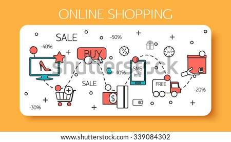 Online shopping outline concept of purchasing process. Vector illustration