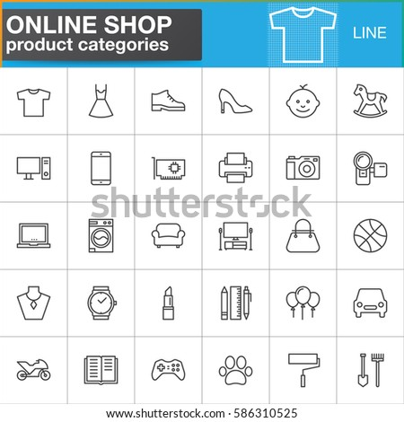 Online shopping product categories line icons set, outline vector symbol collection, linear style pictogram pack. Signs, logo illustration. Set includes icons as clothes, shoes, computer, electronics