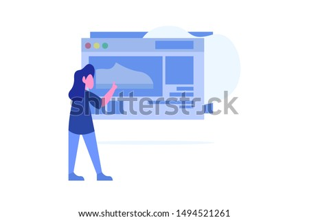 online shopping screen concept vector illustration concept for web landing page template, banner, flyer and presentation
