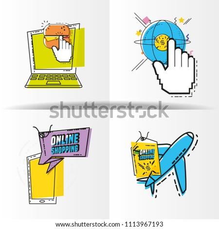 online shopping set icons #1113967193