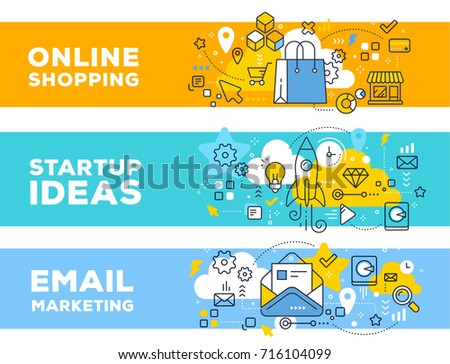 Online shopping & startup ideas concept on color backgrounds with title. Vector set of banner illustrations with business elements. Thin line art flat style design for web, site, banner, presentation