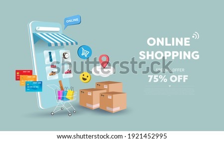 Online shopping store on website and mobile phone design. Smart business marketing concept. Horizontal view. Vector Illustration