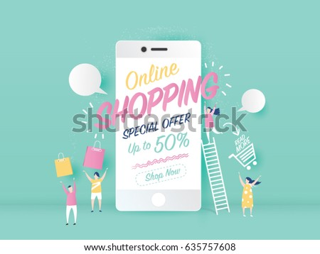 online shopping text on mobile