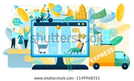 Online Shopping Vector Concept in Flat Design with People Making Purchases in Online Shop, Offering and Delivering Goods. Choosing and Ordering Goods in Internet with Express Shipment To Customer