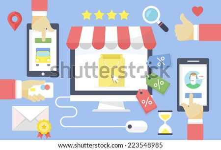 Online shopping vector flat design concept