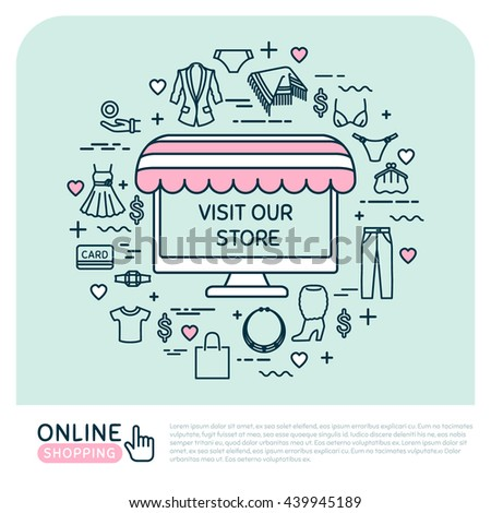 online shopping vector thin